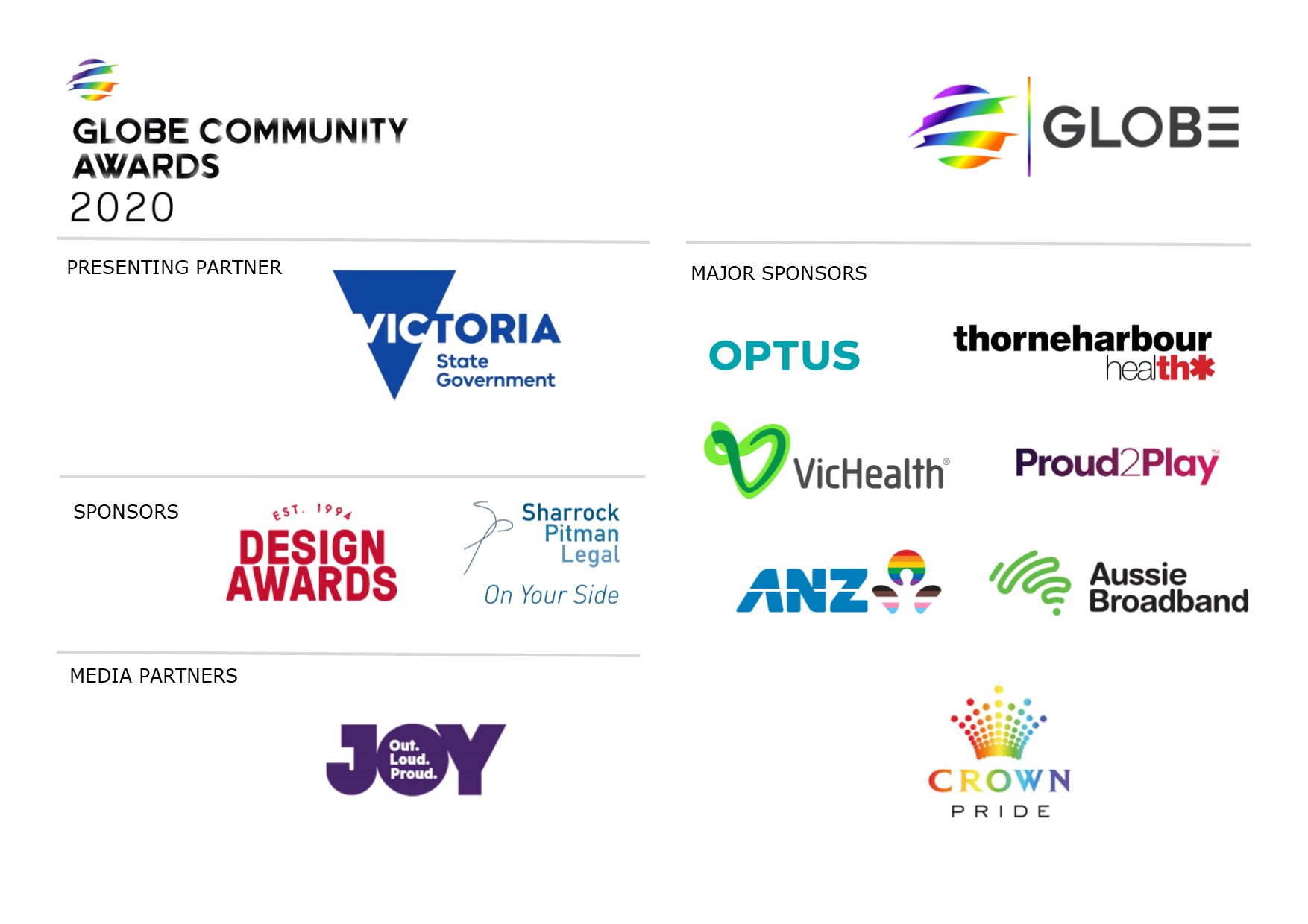 On behalf of everyone here at GLOBE we wanted to express a HUGE THANK YOU to the sponsors of the 2020 GLOBE Community Awards! Without the ongoing support of Optus, State Government of Victoria, ANZ Australia, VicHealth, Sharrock Pitman Legal, Crown Melbourne, Thorne Harbour Health, Aussie Broadband, Proud 2 Play, JOY 94.9, and Design Awards the Community Awards would not be what they are!